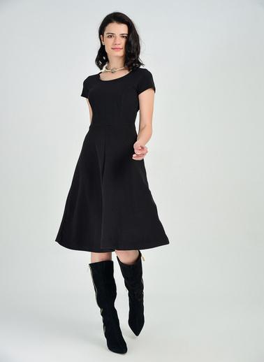 Sense Çan Etek Yaka Biye Kısa Kol Elbise Siyah